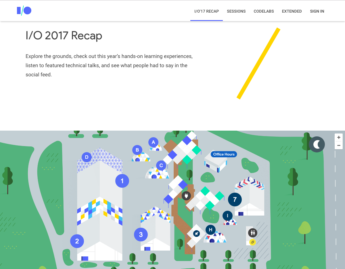 Image of the Google I/O Web site